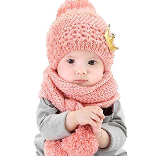 Koly Lindo de invierno bebés de los muchachos Calentar gorros de lana Cofia de la capilla de la bufanda (Rosa)