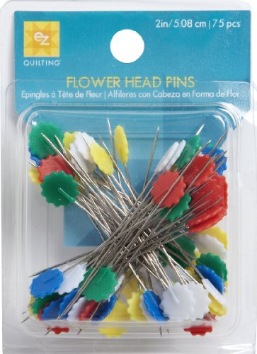 EZ-Quilting-75-Piece-Flower-Head-Pins-Multi-Color