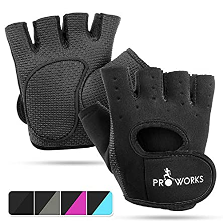 Proworks Ladies Fingerless Gym Gloves | Padded Weight Lifting Gloves for Women – Ideal as Cycling Gloves or for Lifting, Training, CrossFit, Rowing, Yoga & More
