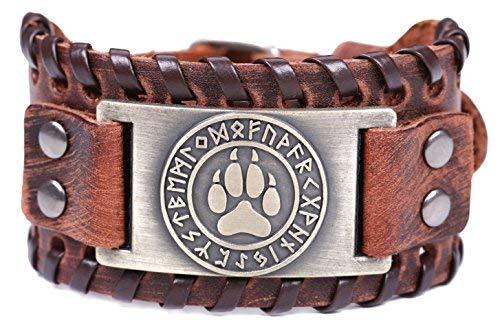 Imagen de likgreat viking wolf  pulsera de piel para hombre, diseño de oso de lobo y huellas de norso