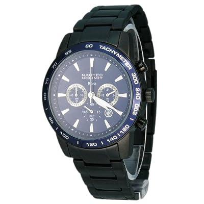 Nautec No Limit Bora - Reloj cronógrafo de caballero de cuarzo con correa de acero inoxidable negra (cronómetro) - sumergible a 50 metros de Nautec No Limit