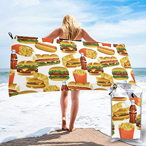 Socksforu Fast Quick Dry Towel,Sports & Beach Towel.Fast Food - White Suitable for Camping, Gym, Yoga,Swimming,Travel,Hiking,Backpacking. - White Fast-food