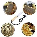 SODIAL Enchufe electrico de la UE Cuchillo de miel de la abeja Equipo de la apicultura Cuchillo de corte manejar de calefaccion Herramientas de madera Raspador de acero inoxidable
