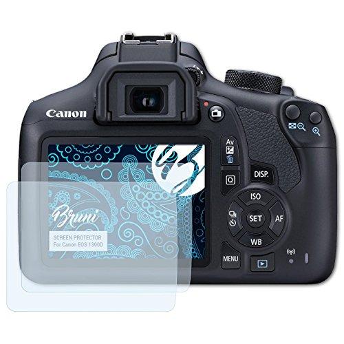 Bruni Película Protectora para Canon EOS 1300D / EOS Rebel T6 Protector Película - 2 x claro Lámina Protectora de Pantalla