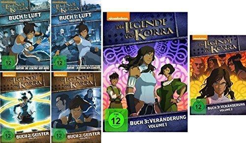 Die Legende von Korra - komplette Staffeln 1-3 (1.1 - 3.2) im Set - Deutsche Originalware [6 DVDs] (Buch Korra 3 Dvd)