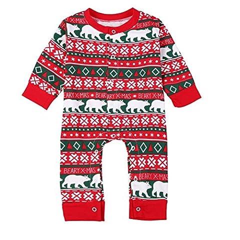 Brightup Neugeborene Weihnachts Outfit Druck Overall, Baby Mädchen Jungen Lange Ärmel Spielanzug