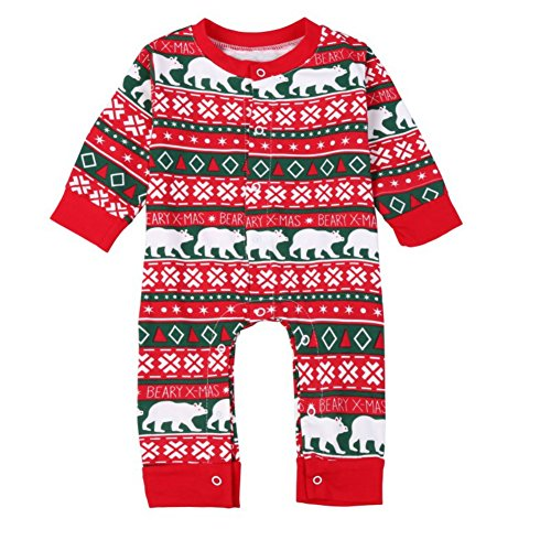 tmas Baby Jumpsuits PJs Xmas Kids Sleepsuit One Piece (Xmas Pjs Kinder)