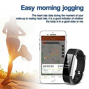 Pulsera Actividad, ONSON Fitness Tracker Deportiva Smartband : Monitor de Sueño y Calorías, Podómetro, Despertador, Cámara Control ,Reloj Inteligente para Mujer Hombre,Compatible con IOS y Android