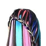 EZSTAX Regenbogen Haarteile Set Haarverlängerungen mit Clip Perücke Kunsthaar 12 Farbe