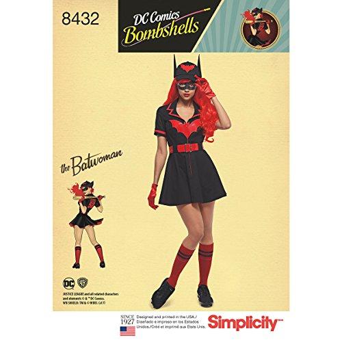 Girls Batgirl Gotham Kostüm - Simplicity Muster 8432H5(6-8-10-12-14) Frauen 'S DC Bombe Batwoman Kostüm, Papier, weiß, 22,23x Himmelblau X 1,23cm