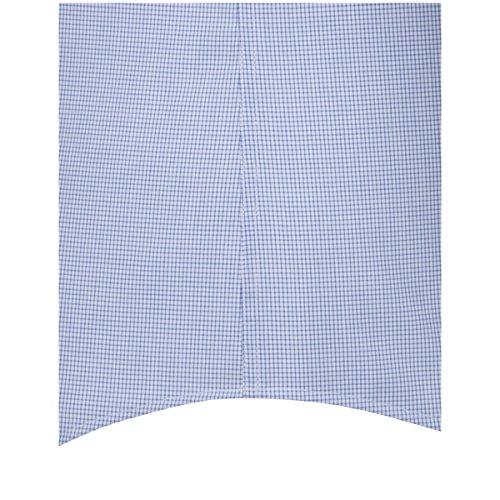 SEIDENSTICKER Herren Hemd Slim 1/2-Arm Bügelfrei Karo City-Hemd Kent-Kragen Ohne Manschette blau (0013)