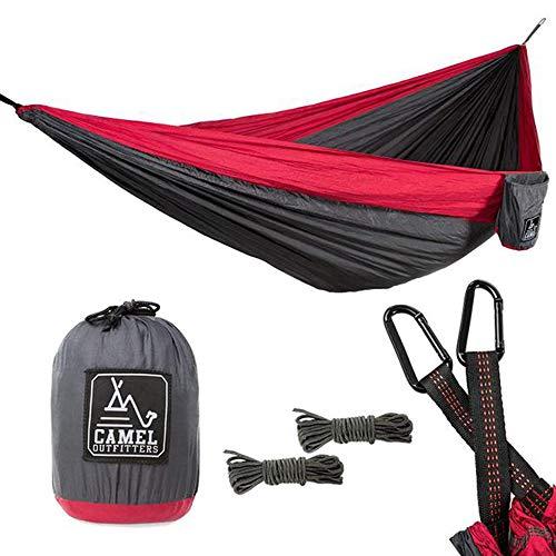 AFFC Camping Hängematte Fallschirm Hängematte - tragbare Indoor Outdoor Rucksack Überleben und Reisen, Bergsteigen, Hof, Strand, Reisen (300 * 200cm),Red