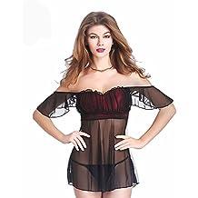 HLGO Mujer Negr Lingerie satinado malla de encaje Transparente Ladies Pijamas con G-String Negro, 4 Tamaño Para la Opción