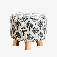 Preisvergleich für Fabric wooden stool Hölzerne Runde Schemel Osmanen und Puffs ändern Schuhe Stuhl Stoff Sofa Hocker mit 4 Holzbeine Tatami Hocker im Wohnzimmer Schlafzimmer 28CMX25CM