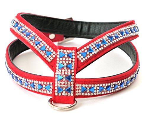Rot und Blau Fliege Design Strass Samt Hundegeschirr mit Strasssteine Detail für XSmall und kleine Hunderassen