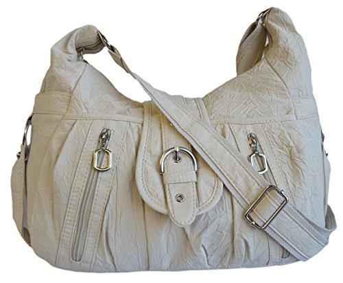 Tasche Damentasche Handtasche Stofftaschen Schultertasche 1449 (Rosa) Hellbeige