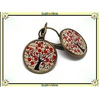 Orecchini traversine albero della vita papavero resina rosso beige nero ottone bronzo regalo personalizzato noel fidanzata compleanno matrimonio san valentino giorno della mamma