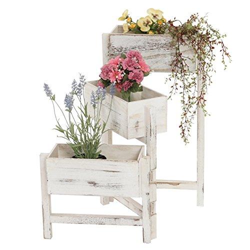 Mendler Pflanzregal, Standregal Blumenständer, Höhe: 65cm Shabby-Look Vintage ~ weiß