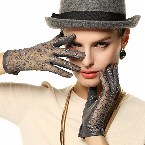 WARMEN Gants Gothiques Lolita pour Femme en Cuir Nappa véritable Non Doublés avec Lacets Gris Clair