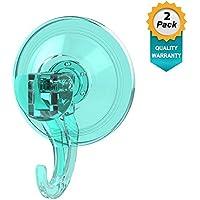 Quntis® - Ganchos Ventosa Fuerte [2 Pack] Perchas Grandes Individuales, Transparente Plástico, Ganchos Adhesivos Resistente al Agua, Ideal para Baño Cocina Ducha Ventana, etc.