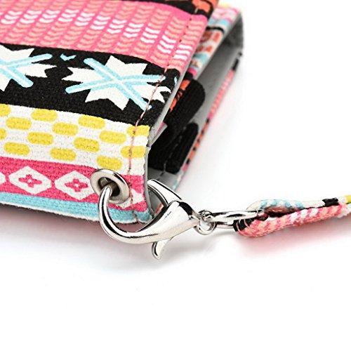 Kroo Téléphone portable Dragonne de transport étui avec porte-cartes pour HTC One M9/Desire 612 Multicolore - bleu Multicolore - rose