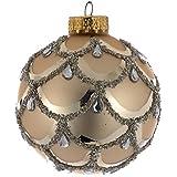 Kurt Adler 80mm Rose Gold Scalloped Art Deco Design Glass Ball Ornaments, 3-Piece Box Set
