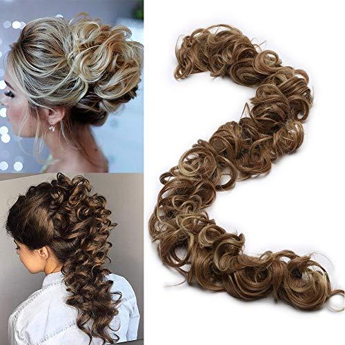 "TESS Haarverlängerung Ombre Ponytail Extension DIY Haargummi Haarteil Dutt Synthetik Haare für Haarknoten Zopf Pferdeschwanz Hair Extensions 32"" (80cm) 85g Hellbraun/Hellblond"