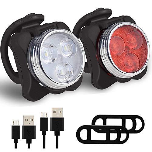 88TV Luz para Bicicleta por USB Conjunto de Luces Delantera y Trasera para Bicicleta 4 Modo 650mAh Reflector Bici Seguridad Faro de Señal, LED Luz Delantera y Trasera Bicicleta (Negro)