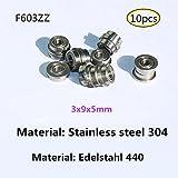 Flange bearing Rodamientos de brida Acero inoxidable 440 Cojinetes en miniatura 10 piezas (F603-ZZ)