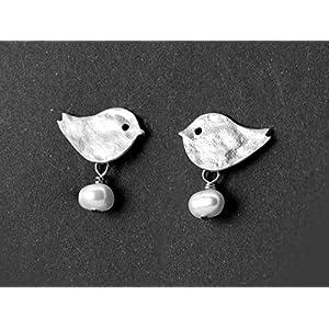 Niedliche Ohrringe, zierlicher Mädchen-Schmuck, versilberte Vögelchen mit Süßwasser-Perlen, das perfekte Geschenk