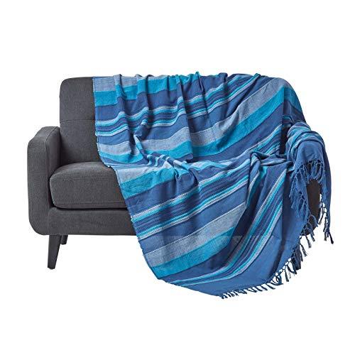 Homescapes Tagesdecke / gestreifter Sofaüberwurf Morocco in Blau 225 x 255 cm - handgewebt aus 100% reiner Baumwolle mit Fransen -