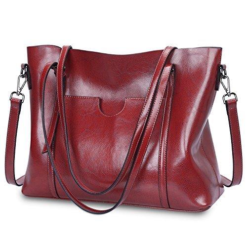 S-ZONE Damen Vintage 3-Way Echtes Leder Tote Schultertasche Handtasche Mode Handtasche Messenger Bag -