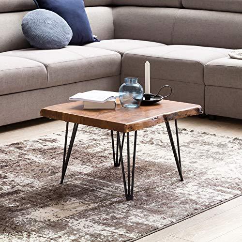 FineBuy Design Couchtisch MAILO Massivholz Tisch Baumkante 56 x 38 x 51 cm | Sheesham Holztisch mit Metallbeinen | Wohnzimmertisch im rustikalen Landhausstil