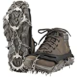Terra Hiker Crampones con 18 Dientes-Pinchos Tacos de Tracción de Acero Inoxidable y Anti Deslizante en Hielo Estabilizadores para Caminar Correr Escalar Sobre Nieve o Hielo Negro (L+: 42-47)