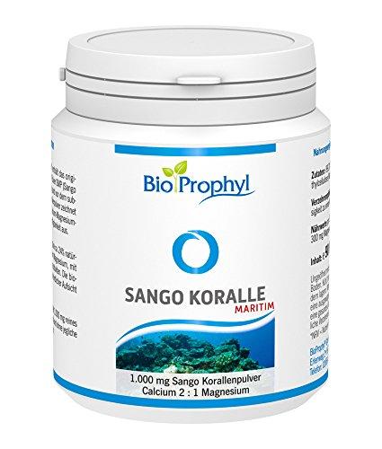 BioProphyl® Sango Koralle maritim - 700 mg Calcium und 300 mg Magnesium - 1.000 mg rein natürliches Sango Meereskorallenpulver - natürliche Quelle für Kalzium + Magnesium - 90 pflanzliche Kapseln im Monatsvorrat
