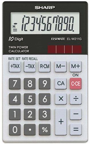 Sharp EL-W211G Taschenrechner, Steuerberechnung, 10-stellig