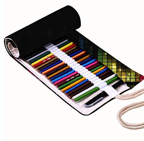 Preisvergleich Produktbild Snoogg Sound Bar Design Leinwand Wrap Halter für 48farbigen Bleistift, Rolle Fall für Gel Pen, Reisen Organizer Tasche für Künstler, Mehrzweck (keine Bleistifte im lieferumfang enthalten), 48Löcher