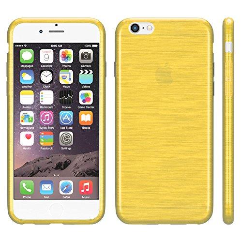 """EAZY CASE Handyhülle für Apple iPhone 6S Plus, iPhone 6+ Hülle - Premium Handy Schutzhülle Slimcover """"Clear"""" hochwertig und kratzfest - Transparentes Silikon Backcover in Klar / Durchsichtig Brushed Gelb"""
