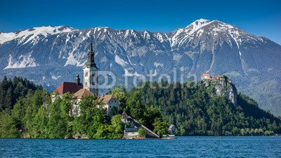 """Poster-Bild 40 x 20 cm: """"Lake Bled with island, church and castle"""", Bild auf Poster"""