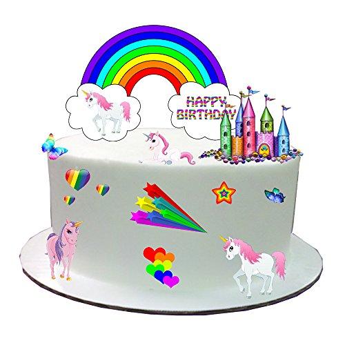 Preisvergleich Produktbild Rainbow Einhorn Stand Up Kuchen Szene aus Essbar Wafer Papier–Perfekt für Dekorieren Ihre Kuchen–einfach zu benutzen