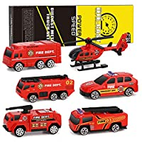 XDDIAS Fire Truck Cars Toy, 6 Pcs Die Cast Fire Engine Model Toys Set, Mini Models Cars Toy Emergency Vehicle Fire Rescue Helicopter Elevating Fire Truck Christmas Birthday Gift for Kids Boys