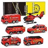XDDIAS Alliage Camion de Pompier Jouet Voiture, 6 Pcs Mini Modèle Voitures de Friction Firetruck Hélicoptère Ambulance pour Garçons Enfants de 3 4 5 Ans