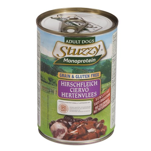 Stuzzy Comida Húmeda Natural para Perro Sabor Ciervo - Paquete de 6 x 400 gr - Total: 2400 gr