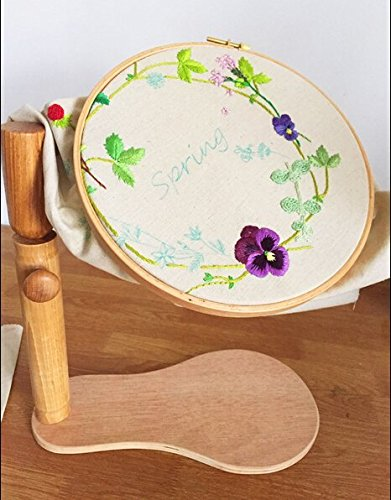 - 8.27Inch Embroidery Hoop Dia 21cm High Adjustable Wooden Standing Leg Embroidery Frame Solid Wood Cross Stitch Rack by WOMEI