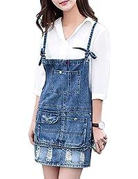 Guiran Peto De Falda Cortos Para Mujer Vestir De Tirantes Sin Mangas Denim Vestido Azul 1