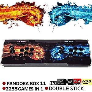 SeeKool Pandora 11 Juegos clásicos Consola de Videojuegos, 2255 in 1 Multijugador Arcade Game Console, 2 Joystick Partes de la Fuente de alimentación HDMI y VGA y Salida USB