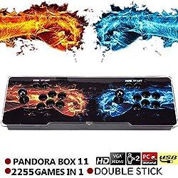 SeeKool Pandora 11 Console de Jeux vidéo Arcade, 2255 en 1 Console de Jeux vidéo HD Retro, Commandes de Jeu à 2 Joueurs Double Stick Arcade Console Machine avec HDMI/ VGA/ USB