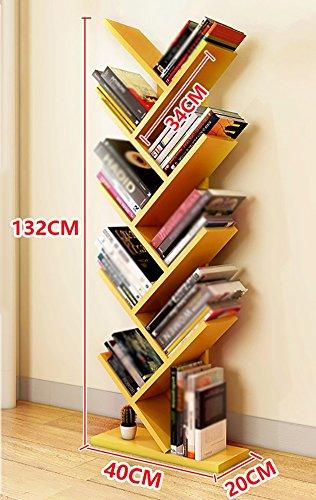 ZCJB Baum Bücherregal Einfache Wohnzimmer Bücherregal Regal Schlafzimmer Kinder Bücherregal 132 Cm ( Farbe : Gelb )