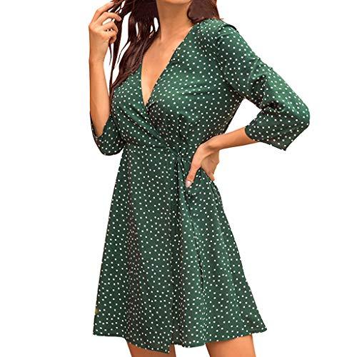 Canifon Frauen Polka Dot Elegant Kleider Damen Jahrgang O-Ausschnitt Einfarbig Hohe Taille Lange Ärmel Etuikleid