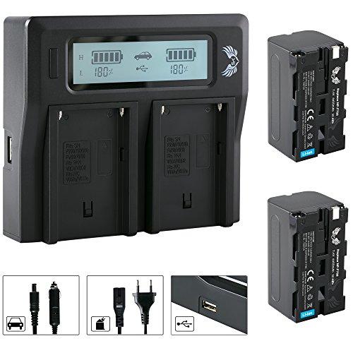 2X SK Akku Sony NP-F750 4400mAh + LCD Dual Doppel Ladegerät für Sony NP-F550 NP-F750 NP-F950 NP-F990 NP-FM50 NP-FM500H und weitere Np-fm50-lithium-batterie